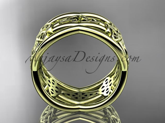 14kt yellow gold celtic trinity knot wedding band, engagement ring CT7519G - AnjaysDesigns