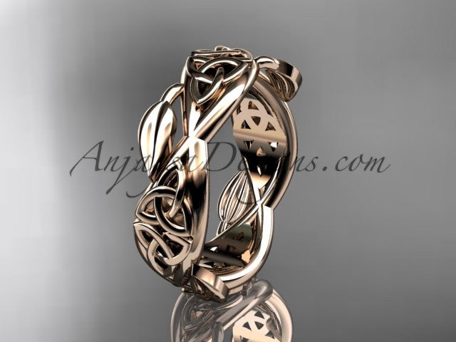 14kt rose gold celtic trinity knot wedding band, triquetra ring, engagement ring CT7520G - AnjaysDesigns