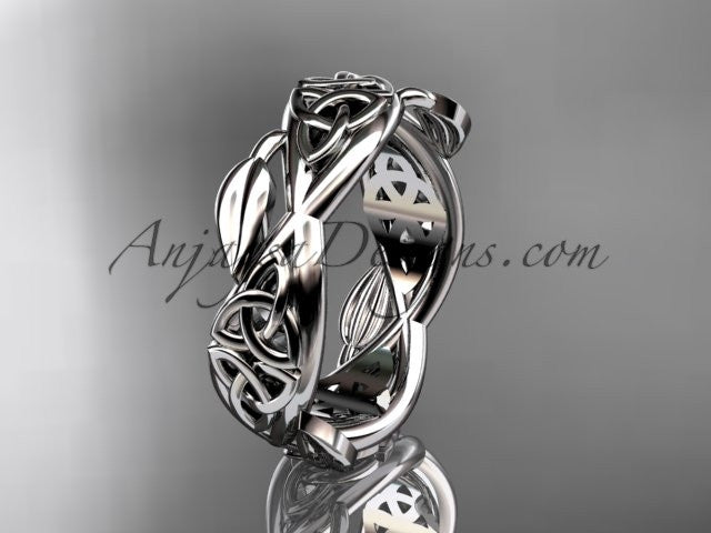 platinum celtic trinity knot wedding band, triquetra ring, engagement ring CT7520G - AnjaysDesigns