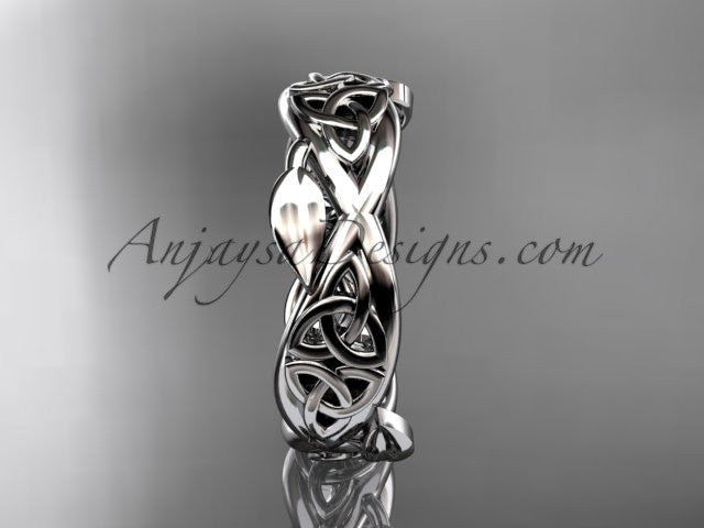 14kt white gold celtic trinity knot wedding band, triquetra ring, engagement ring CT7520G - AnjaysDesigns