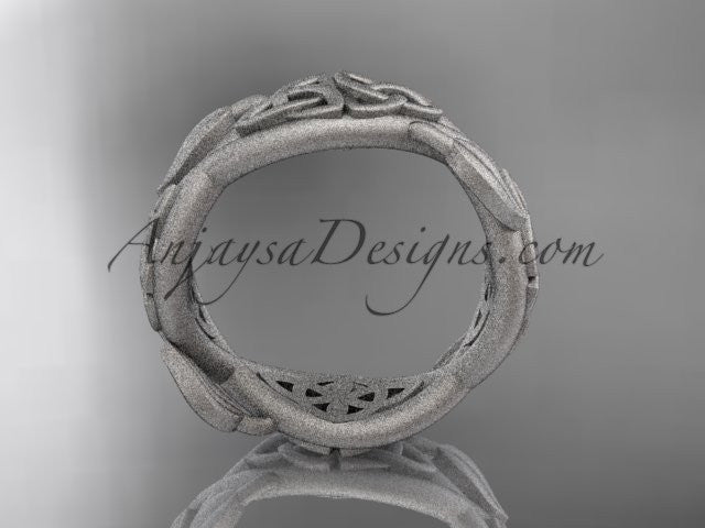14kt white gold celtic trinity knot wedding band, matte finish wedding band, triquetra ring, engagement ring CT7520G - AnjaysDesigns