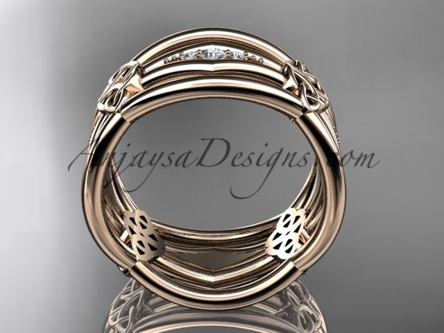 14kt rose gold diamond celtic trinity knot wedding band, triquetra ring, engagement ring CT7521B - AnjaysDesigns
