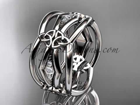 platinum diamond celtic trinity knot wedding band, triquetra ring, engagement ring CT7521B - AnjaysDesigns