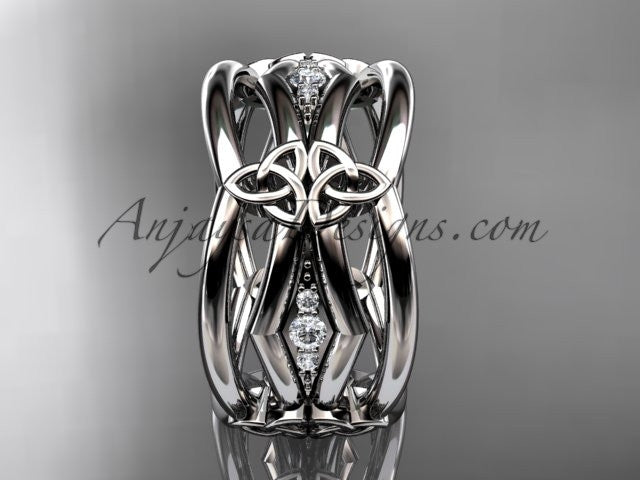 14kt white gold diamond celtic trinity knot wedding band, triquetra ring, engagement ring CT7521B - AnjaysDesigns