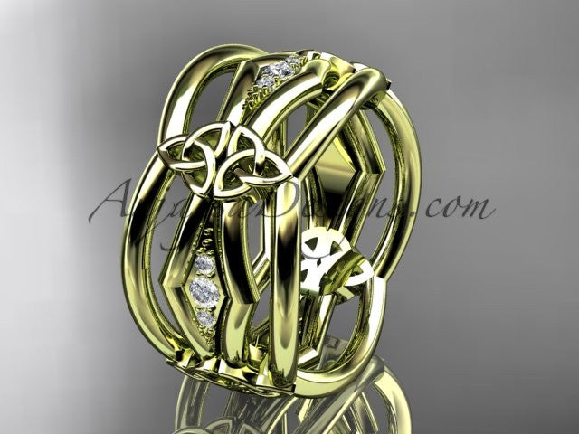 14kt yellow gold diamond celtic trinity knot wedding band, triquetra ring, engagement ring CT7521B - AnjaysDesigns