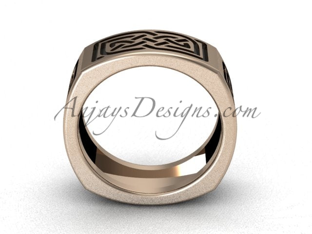 Mens Celtic Eternity Knot Wedding Band 7.9mm Rose Gold Ring