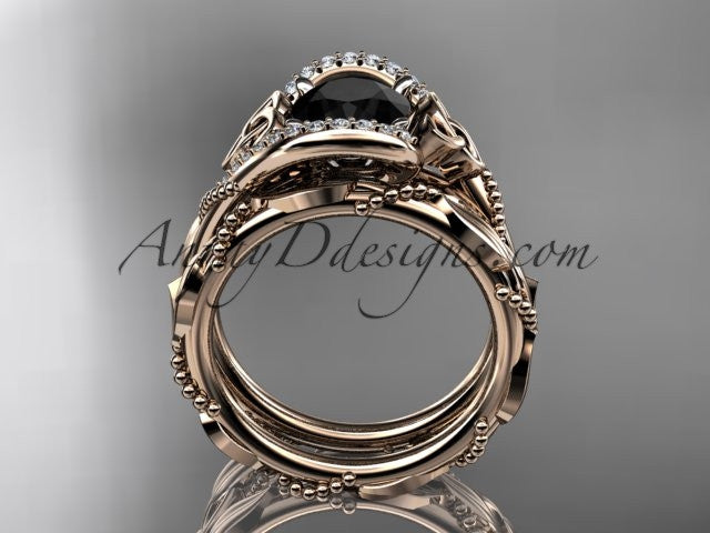 14kt rose gold celtic trinity knot engagement set, wedding ring with Black Diamond center stone CT764S - AnjaysDesigns