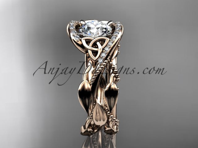 14kt rose gold celtic trinity knot engagement set, wedding ring CT764S - AnjaysDesigns