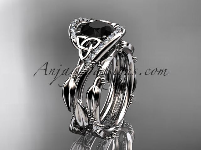 14kt white gold celtic trinity knot engagement set, wedding ring with Black Diamond center stone CT764S - AnjaysDesigns