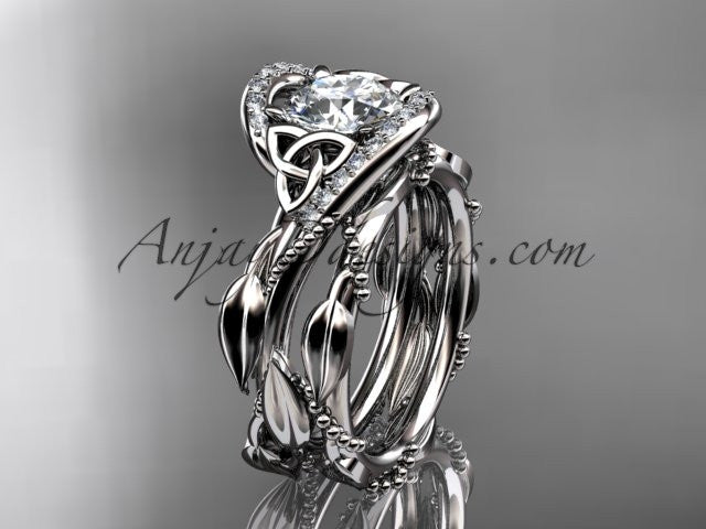 platinum celtic trinity knot engagement set, wedding ring CT764S - AnjaysDesigns