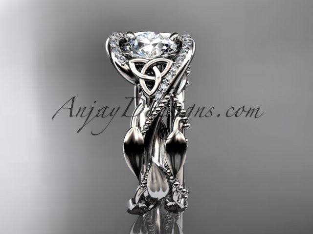 14kt white gold celtic trinity knot engagement set, wedding ring CT764S - AnjaysDesigns