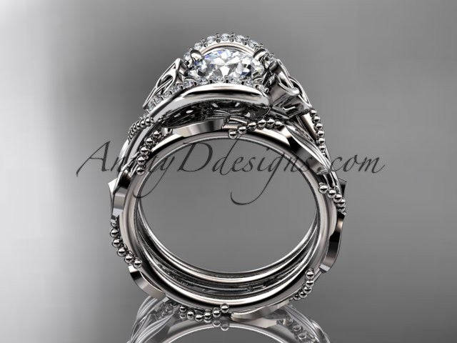 "platinum celtic trinity knot engagement set, wedding ring with ""Forever One"" Moissanite center stone CT764S - AnjaysDesigns"