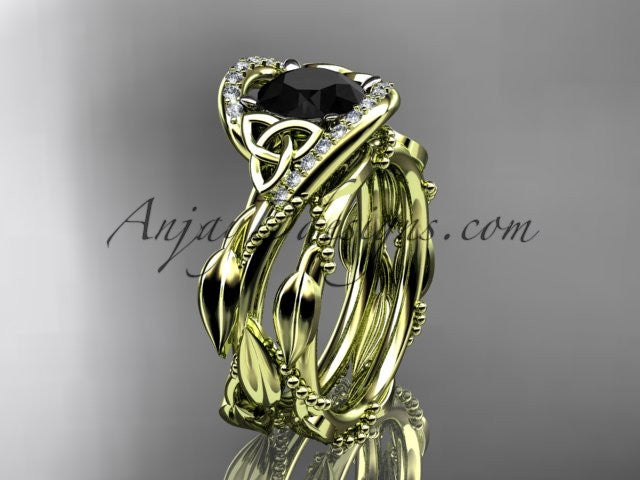 14kt yellow gold celtic trinity knot engagement set, wedding ring with Black Diamond center stone CT764S - AnjaysDesigns