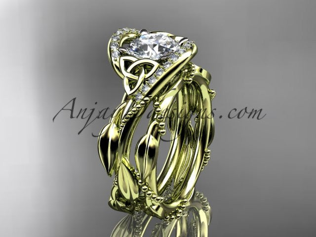 14kt yellow gold celtic trinity knot engagement set, wedding ring CT764S - AnjaysDesigns