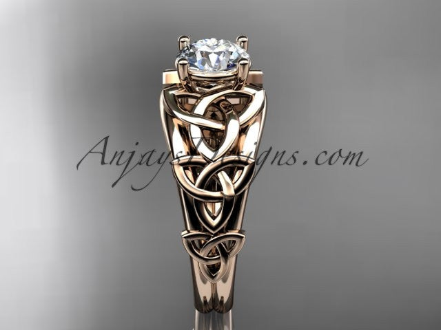 14kt rose gold celtic trinity knot engagement ring , wedding ring CT765 - AnjaysDesigns
