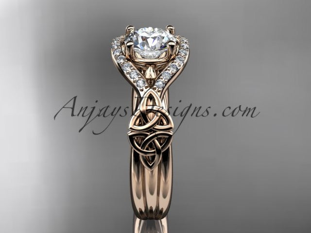 "14kt rose gold celtic trinity knot engagement ring ,diamond wedding ring with ""Forever One"" Moissanite center stone CT785 - AnjaysDesigns"