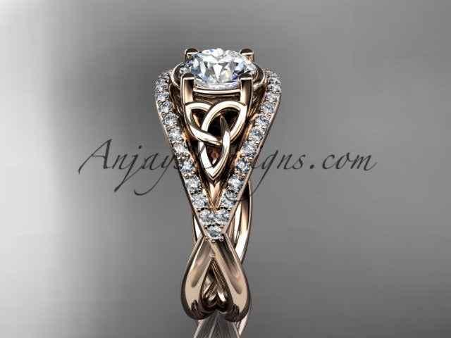 14kt rose gold celtic trinity knot engagement ring diamond wedding