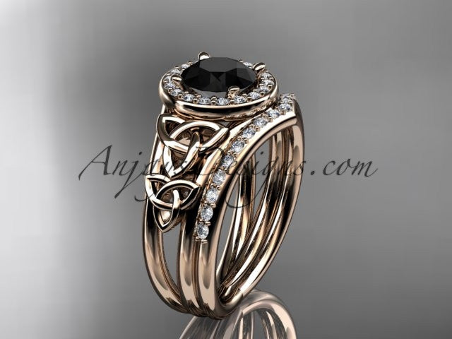 14kt rose gold diamond celtic trinity knot wedding ring, engagement set with a Black Diamond center stone CT7131S - AnjaysDesigns