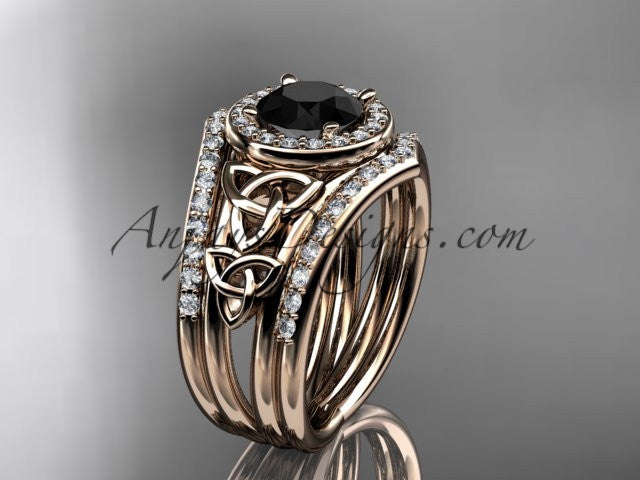 14kt rose gold diamond celtic trinity knot wedding ring, engagement ring with a Black Diamond center stone and double matching band CT7131S - AnjaysDesigns