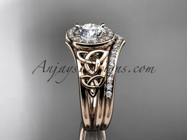 14kt rose gold diamond celtic trinity knot wedding ring, engagement set CT7131S - AnjaysDesigns