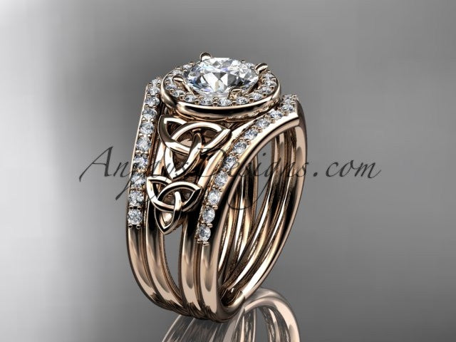 14kt rose gold diamond celtic trinity knot wedding ring, engagement ring with a double matching band CT7131S - AnjaysDesigns