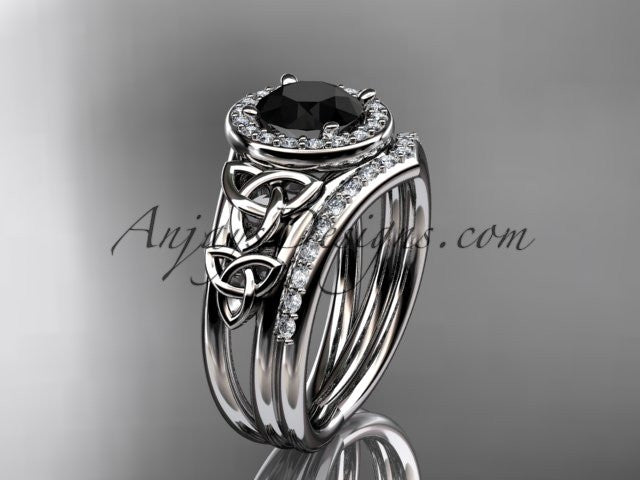 platinum diamond celtic trinity knot wedding ring, engagement set with a Black Diamond center stone CT7131S - AnjaysDesigns