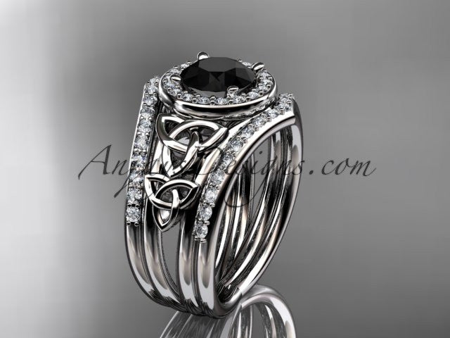 platinum diamond celtic trinity knot wedding ring, engagement ring with a Black Diamond center stone and double matching band CT7131S - AnjaysDesigns