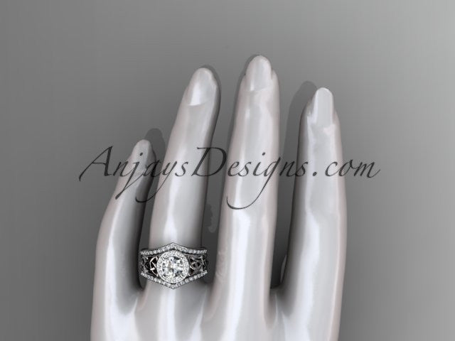 platinum diamond celtic trinity knot wedding ring, engagement ring with a double matching band CT7131S - AnjaysDesigns