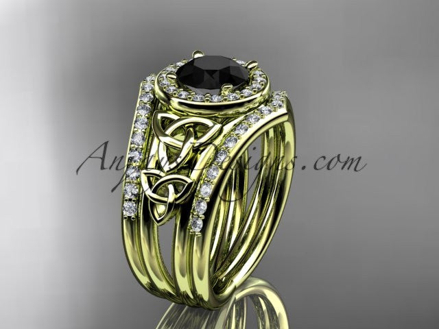 14kt yellow gold diamond celtic trinity knot wedding ring, engagement ring with a Black Diamond center stone and double matching band CT7131S - AnjaysDesigns
