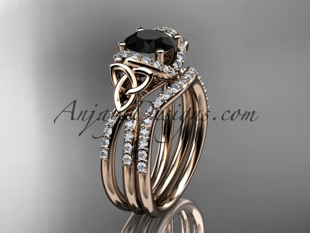 14kt rose gold diamond celtic trinity knot wedding ring, engagement set with a Black Diamond center stone CT7155S - AnjaysDesigns