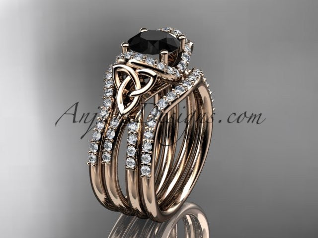 14kt rose gold diamond celtic trinity knot wedding ring, engagement ring with a Black Diamond center stone and double matching band CT7155S - AnjaysDesigns