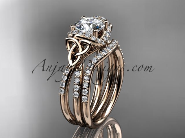 14kt rose gold diamond celtic trinity knot wedding ring, engagement set CT7155S - AnjaysDesigns