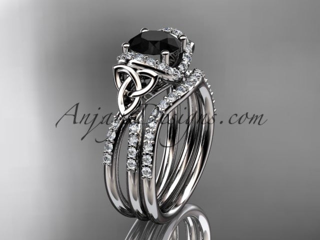 14kt white gold diamond celtic trinity knot wedding ring, engagement set with a Black Diamond center stone CT7155S - AnjaysDesigns
