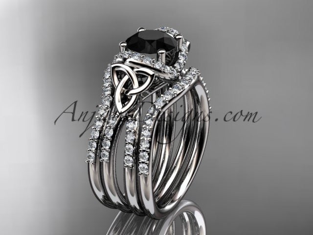 platinum diamond celtic trinity knot wedding ring, engagement ring with a Black Diamond center stone and double matching band CT7155S - AnjaysDesigns