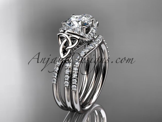 14kt white gold diamond celtic trinity knot wedding ring, engagement set CT7155S - AnjaysDesigns