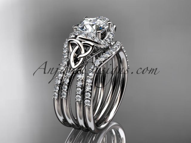 platinum diamond celtic trinity knot wedding ring, engagement ring with a double matching band CT7155S - AnjaysDesigns