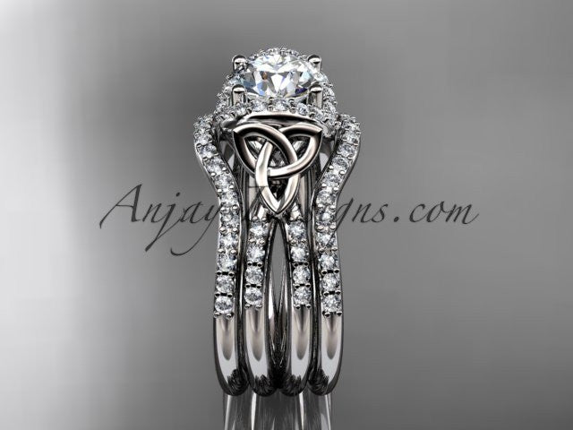14kt white gold diamond celtic trinity knot wedding ring, engagement ring with a double matching band CT7155S - AnjaysDesigns