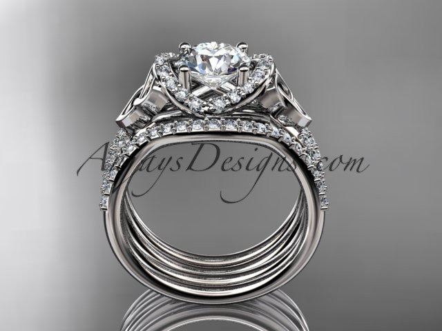"platinum diamond celtic trinity knot wedding ring, engagement ring with a ""Forever One"" Moissanite center stone and double matching band CT7155S - AnjaysDesigns"