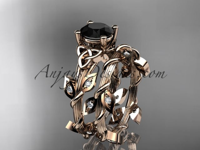 14kt rose gold diamond celtic trinity knot wedding ring, engagement ring with a Black Diamond center stone CT7215S - AnjaysDesigns