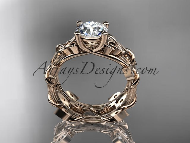 "14kt rose gold diamond celtic trinity knot wedding ring, engagement ring with a ""Forever One"" Moissanite center stone CT7215S - AnjaysDesigns"