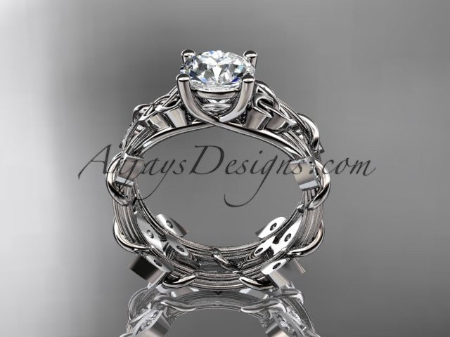 14kt white gold diamond celtic trinity knot wedding ring, engagement set CT7215S - AnjaysDesigns