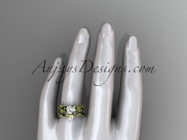 "14kt yellow gold diamond celtic trinity knot wedding ring, engagement ring with a ""Forever One"" Moissanite center stone CT7215S - AnjaysDesigns"