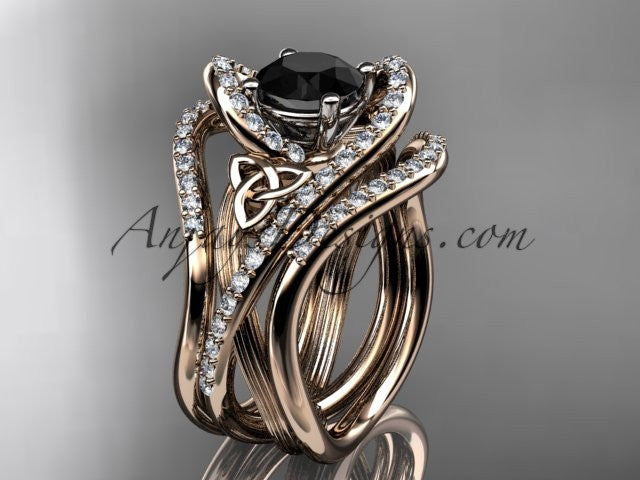 14kt rose gold diamond celtic trinity knot wedding ring, engagement ring with a Black Diamond center stone and double matching band  CT7369S - AnjaysDesigns