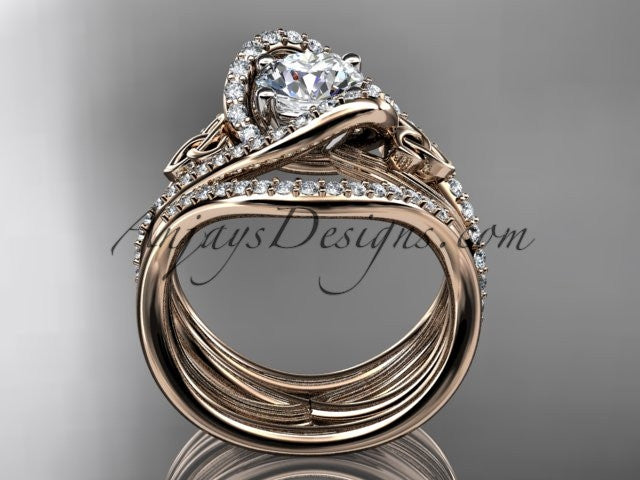 14kt rose gold diamond celtic trinity knot wedding ring, engagement ring with double matching band  CT7369S - AnjaysDesigns