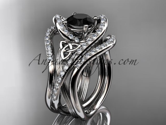 platinum diamond celtic trinity knot wedding ring, engagement ring with a Black Diamond center stone and double matching band  CT7369S - AnjaysDesigns