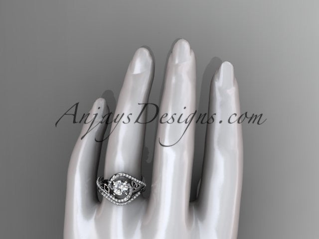 platinum diamond celtic trinity knot wedding ring, engagement set CT7369S - AnjaysDesigns