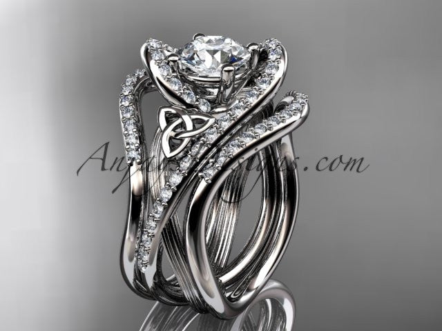 14kt white gold diamond celtic trinity knot wedding ring, engagement ring with double matching band  CT7369S - AnjaysDesigns