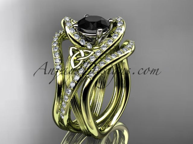 14kt yellow gold diamond celtic trinity knot wedding ring, engagement ring with a Black Diamond center stone and double matching band  CT7369S - AnjaysDesigns