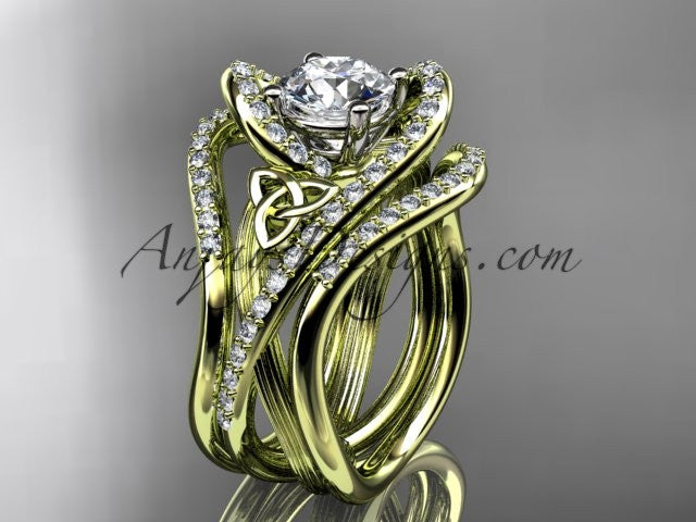 14kt yellow gold diamond celtic trinity knot wedding ring, engagement ring with double matching band  CT7369S - AnjaysDesigns