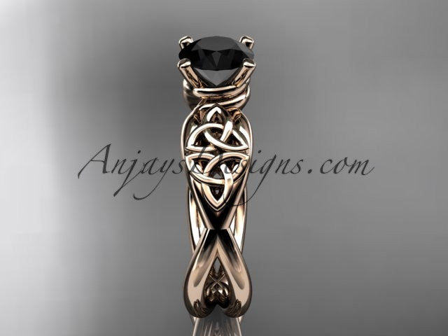 14kt rose gold celtic trinity knot engagement ring, wedding ring with a Black Diamond center stone CT770 - AnjaysDesigns